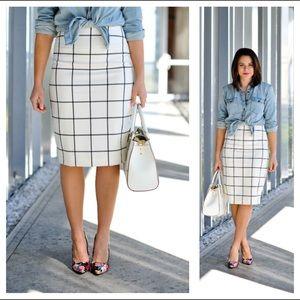 THE LIMITED // Windowpane Pencil Skirt